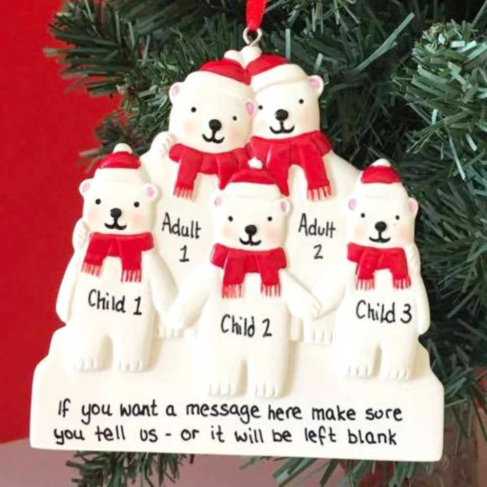 Personalised Polar Bear Family of 5